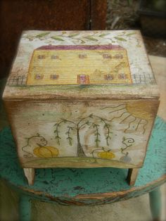 Primitive Folk Art Painted Coffer/Box ~ Pumpkin Farm ~ from ©Notforgotten Farm Wood Painting Art, Tole Painting, Wood Artwork, Primitive Folk Art, Country Primitive, Primitive Decor, Painted Boxes, Painted Wood, German Folk