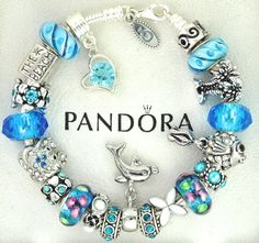 Authentic Pandora Silver Charm Bracelet with Charms Beach Choose Color Blue Pink | eBay