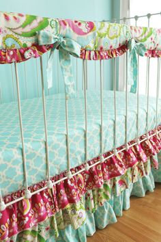 Items similar to Bumperless Girl Crib Bedding with Lace Crib Skirt, Sweet Georgia Peach and Ivory Baby Bedding, Coral Watercolor Floral Crib Rail Cover Guard on Etsy Baby Girl Crib Bedding, Girl Cribs, Baby Bedding Sets, Crib Sets, Girl Nursery, Nursery Decor, Girl Room, Nursery Ideas, Room Decor