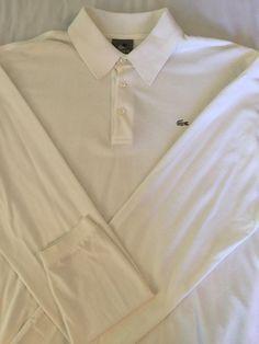 Lacoste mens long sleeve white polo shirt