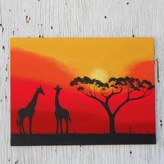 African Sunset, Silhouette Art, Giraffe Painting, Africa Painting, African Tree Art, Original Landscape Painting, Yellow Orange Red Painting