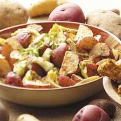 Roasted Potatoes and Artichokes Recipe -Potato wedges and artichoke hearts are roasted to perfection in this hearty recipe from Mary Relyea of Canastota, New York. For added zing, Mary sprinkles the veggies with crumbled feta cheese.