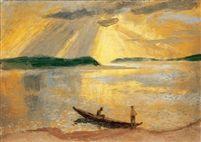 Felragyogó napsütés a Duna fölött, 1935  oil tempera on canvas 70 x 99 cm