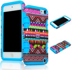 Bastex Hybrid Case for Apple iPod Touch 5, 5th Generation - Sky Blue Silicone / Aztec Tribal Hard