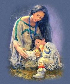 ~Luvdalot Graphics & Design - Linkware Web Sets -Native American-Contemporary Artist-Detha Watson- A Mother's Love~