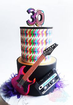 80s Rock and Roll birthday cake www.slicecakes.com