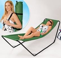Portable Hammock. this is what I want instead of a chair at the beach.