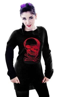 SKULL TUNIC SWEATER RED
