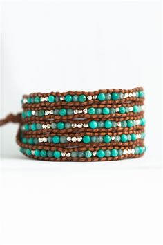 Mini Turquoise and Nephrite Jade Wrap Bracelet on Brown Leather Shop: www.talulahlee.com #wrapbracelets #turquoise #jade #leatherbracelets