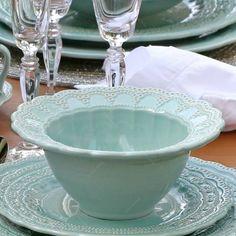 Conjunto Bowls Peniche Verde - 6 Peças - em Cerâmica - Porto Brasil - 17,5x8 cm