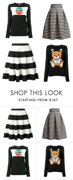 """""""striped skirts and graphic sweaters"""" by christawallace ❤ liked on Polyvore featuring Akris Punto, Rumour London, Bella Freud and Moschino"""