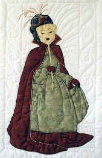 """#9 """"Bonnet Girls Seasons"""" Masquerade Ball Pattern $6.50. Masquerade balls can be held any time of the year, but especially on New Years Eve and Halloween. The unknown bonnet girl has her face covered with a masque. Her costume is accented with metallic embroidery thread."""