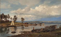 "Hans Fredrik Gude: ""Fjord landscape with people"", 1875, oil on canvas,"