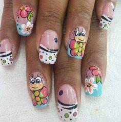 Nails Now, Love Nails, Pretty Nails, Green Nail Designs, Nail Art Designs, Ruby Nails, Sculpted Gel Nails, Nail Art For Kids, Crazy Nail Art