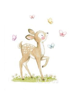 Nursery print FAWN and BUTTERFLIES Archival Print, Nursery art. Butterflies. Its very fun to play chasing butterflies! Its a reproduction of my original illustration printed with detailed on special watercolor paper 300 g. honed natural white, acid-free and 100% cellulose, gives appearance of original painting Watermark will not appear on purchased print. VERTICAL printing. All print is hand signed by me. Prints comes packaged in a protective cello sleeve and shipped in a resistant maili...