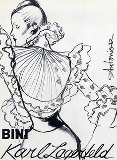 Fashion illustration by Antonio, 1972, Karl Lagerfeld Couture.