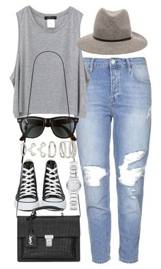 Outfit with converse by ferned on Polyvore featuring polyvore, fashion, style, Topshop, Converse, Yves Saint Laurent, Forever 21, Burberry, Janessa Leone and Ray-Ban