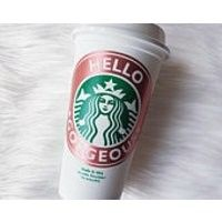 ADD TO FAVORITES Rose Gold Custom Reusable Starbucks Cup, Best Friend Gift, Bridesmaid Gift, Bridal Party Gift, Mothers Day Gift by: Etsy - laurenmackenziedecal #ad #affiliate#rosegold #travelmug