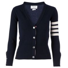 THOM BROWNE striped sleeve cardigan ($1,310) ❤ liked on Polyvore featuring tops, cardigans, outerwear, short-sleeve cardigan, v neck cardigan, navy blue cardigan, navy blue cashmere cardigan and navy stripe cardigan