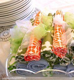 Dinner Party Tips | pretty napkins tied with ribbon brightboldbeautiful.com