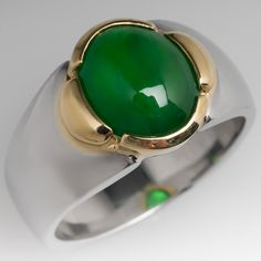 This is the finest jadeite we have ever seen. It is rich in color and glassy. The stone is set in an yellow gold bezel on a substantial platinum wide band. The stone is in excellent condition with a very nice polish. Leaf Jewelry, Jade Jewelry, Gold Jewellery, Silver Jewelry, Jade Ring, Platinum Jewelry, Engraved Rings, Luxury Jewelry, Wedding Ring Bands