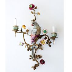 Parrot wall sconce from Angel at My Table Boho store Vintage Chandelier, Chandelier Lamp, Vintage Interiors, Colorful Interiors, Candle Sconces, Wall Sconces, Chandeliers, Shabby Chic Lamps, China Painting