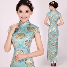 Shop elegant silk cheongsam, traditional Chinese red bridal dresses, sexy modernize Qipao from www.ModernQipao.com. Save 6% by share our products. Gold floral sky blue brocade long Chinese mandarin collar sheath dress