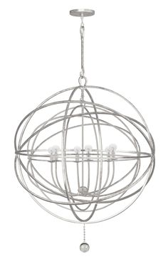 Crystorama Solaris Chandelier, Nickel, Orb, Contemporary, Modern, Dining Room, Crystal