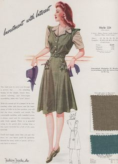 Fashion Frocks 1940s. I love the inclusion of fabric samples, which make it easier to see exactly what colors and materials were popular.