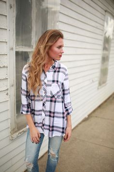 Larissa Plaid Flannel Foi Clothing Boutique   Long Sleeve   Button Down Plaid with Pockets   Fall Fashion    Fall Plaid Flannel   Women's Fashion Plaid Top   Blue, Pink and White Flannel   Classic Flannel   Flannel Weather   Blogger Style   WIWT   OOTD   Buy Now on Foiclothing.com   Our Fall Obsession  