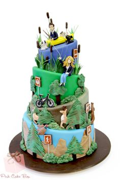 Groom's Hunting & Sports Themed Cake We personalized this groom's cake to incorporate hunting, hiking and biking all in honor of the groom's favorite pasti Fondant Cakes, Cupcake Cakes, Cupcakes, Pastries Images, Mountain Cake, Sports Themed Cakes, Pink Cake Box, Camping Cakes, Bike Cakes