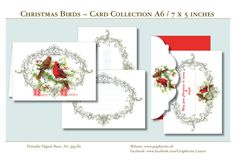 Printable Digital Card Collection - CHRISTMAS BIRDS - Format A6 for download and DIY printing! #scrapbooking, #cardmaking, #papercrafts, #birds, #christmas, #snow, #greetingcards, #printable, #download, #holidays, #season,