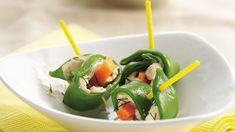Create a colorful appetizer in 20 minutes by rolling crunchy pea pods around a seafood and veggie filling.