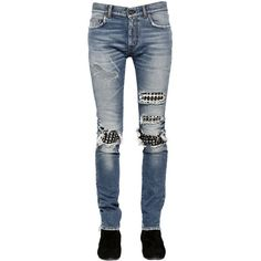 Saint Laurent Men 15cm Studded Leather Patch Denim Jeans ($1,110) ❤ liked on Polyvore featuring men's fashion, men's clothing, men's jeans, blue, mens destroyed jeans, mens jeans, mens patched jeans, mens blue jeans and mens distressed jeans