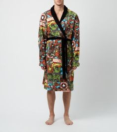 Red Marvel Print Dressing Gown - New Look