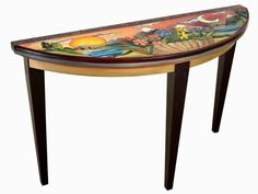 Sticks Find Adventure Sofa or Side Table - The Find Adventure Sofa or Side Table by Sticks is a half moon-shaped solid wood side table hand-painted with a whimsical sunset design. Made in the USA.