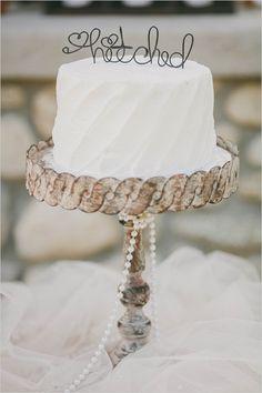 hitched cake topper #caketopper #ranchwedding #smallweddingcake http://www.weddingchicks.com/2014/01/09/honey-sweet-wedding/