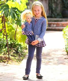 Freckles + Kitty Navy French Terry Tunic Set & Doll Outfit - Girls | zulily