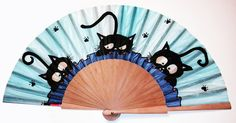 New 2020 collection hand painted natural silk fan and sycamore wood Hand Held Fan, Hand Fans, Sycamore Wood, Chinese Fans, Parasols, Paper Fans, Silk Art, Cat Crafts, Silk Painting