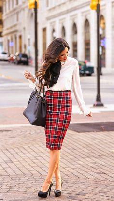 plaid pencil skirt- work attire