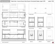The Azuma House – Row House by architect Tadao Ando was built in Sumiyoshi, Osaka, Japan in Tadao Ando, Casa Azuma, Koshino House, Japan Architecture, Ancient Architecture, Sustainable Architecture, Landscape Architecture, Narrow House Designs, Concrete Design