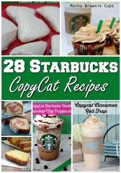 """Original pin: """"I have a weakness for Starbucks drinks. I had to start making some recipe at home for the sake of my budget! This started with just drinks and moved on to food too! Now here are 28 of my favorites recipe plus a few new ones I can't wait to try! Oh did I mention a recipes for one of their discountinued drinks?"""""""