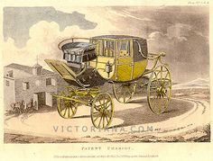 """The Chariot horse carriage was a light four-wheeled horse carriage popular in the early 19th century. This horse carriage was used for occasions of ceremony or for pleasure. This print was from an 1809 """"The Repository of Arts, Literature, Commerce, Manufactures, Fashions and Politics"""" publication commonly known as Ackermann's Repository (1809-1828)."""