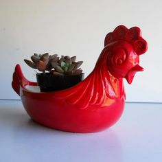 Ceramic Chicken Planter Vintage Design In Chili by fruitflypie, $39.99