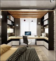 Browse pictures of home office design. Here are our favorite home office ideas that let you work from home. Shared them so you can learn how to work. Home Office Space, Home Office Desks, Office Workspace, Bedroom Office, Bedroom Wall, Office Interior Design, Office Interiors, Office Designs, Loft Stil