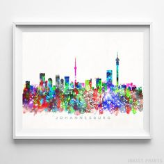 Johannesburg South Africa Skyline Watercolor Wall Art Print. Prices from $9.95. Available at InkistPrints.com - #skyline#watercolor#cityscape#walldecor#livingroomdecor#Johannesburg #SouthAfrica