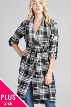 0e082d96fc3 Ladies fashion plus size 3 4 roll up sleeve shawl lapel hand kerchiefef hem  plaid woven jacket