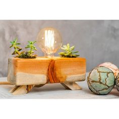 Your place to buy and sell all things handmade Cactus Lamp, Best Desk Lamp, Table Lamp Wood, Planter Pots, Vase, Natural, Unique Jewelry, Handmade Gifts, Vintage