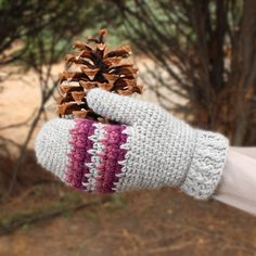 Make these cute mittens by Gleeful Things with Lion Brand Wool-Ease! Available in both women's and men's sizes - these make an excellent holiday gift! Free pattern calls for 3 balls of yarn (pictured in grey heather, dark rose heather, and eggplant) and a size H-8 (5mm) crochet hook.