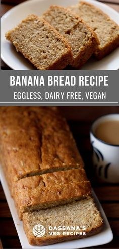 This easy banana bread recipe creates the most moist bread you'll ever eat. Vegan and so easy to make, this healthy recipe is great for dessert or breakfast. #bananabreadrecipe #easy #moist #dassanasvegrecipes Eggless Banana Bread Recipe, Vegan Banana Bread, Easy Banana Bread, Banana Bread Recipes, Egg Free Desserts, Eggless Desserts, Dessert Recipes, Healthy Chocolate Mousse, Pumpkin Bread